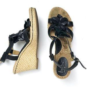 Shoes - Raffia Floral T-Strap Wedge BOC Born Concept